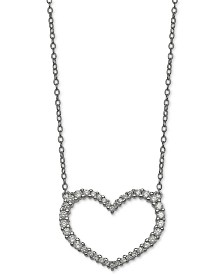 "Giani Bernini Cubic Zirconia Heart 18"" Pendant Necklace in Sterling Silver, Created for Macy's"