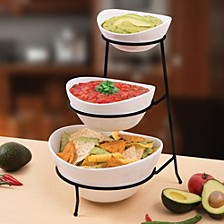 3-Tier Oval Bowls with Metal Stand