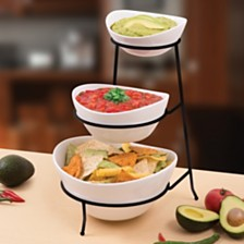 Certified International 3-Tier Oval Bowls with Metal Stand