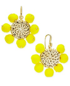 I.N.C. Gold-Tone Basketweave Yellow Pom-Pom Drop Earrings, Created for Macy's