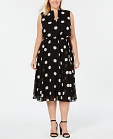 Anne Klein Plus Size Polka Dot Drawstring Dress