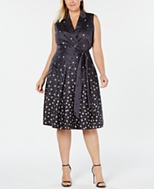 Anne Klein Plus Size Dot-Print Faux-Wrap Dress