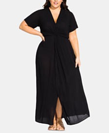 City Chic Trendy Plus Size Twist-Front Maxi Dress