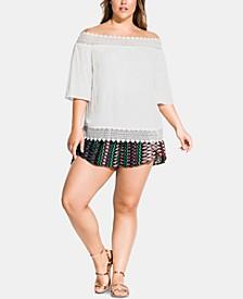 Plus Size Summer Romance Lace-Trim Off-The-Shoulder Top