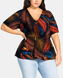 City Chic Trendy Plus Size Bay Islands Printed Surplice Top