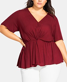City Chic Trendy Plus Size Surplice Crinkle Top