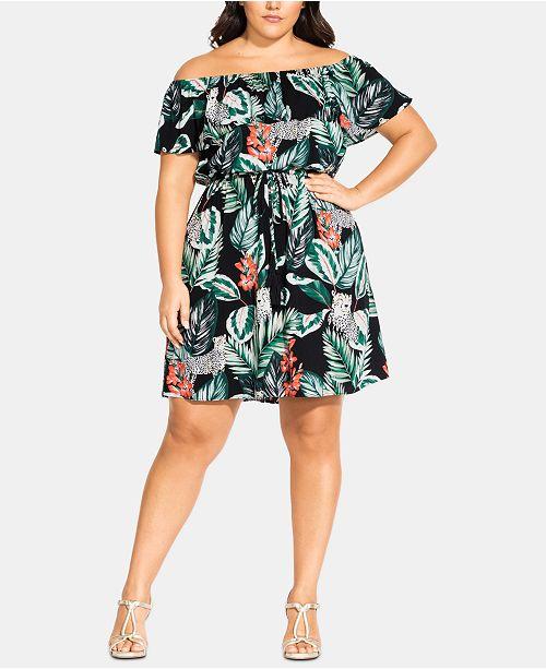 City Chic Trendy Plus Size Pacifica Off-The-Shoulder Dress