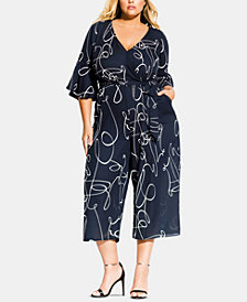 City Chic Trendy Plus Size Printed Cropped Jumpsuit