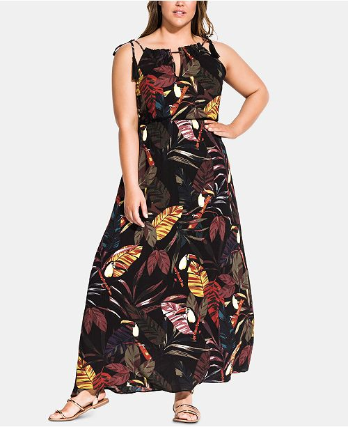 Trendy Plus Size Canopy Halter Maxi Dress