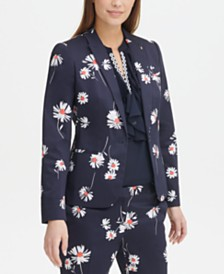 Tommy Hilfiger Floral-Print Peak-Lapel Blazer, Created for Macy's