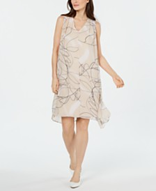 Alfani V-Neck Printed-Overlay Dress, Created for Macy's