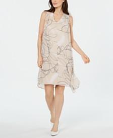 Alfani V-Neck Printed-Overlay Dress, Created for Macy's