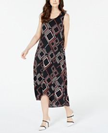 Alfani Geo-Print Tulip-Hem Dress, Created for Macy's