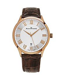 Alexander Watch A103-08, Stainless Steel Rose Gold Tone Case on Brown Embossed Genuine Leather Strap