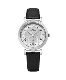 Alexander Watch A202-02, Ladies Quartz Small-Second Date Watch with Stainless Steel Case on Black Satin Strap