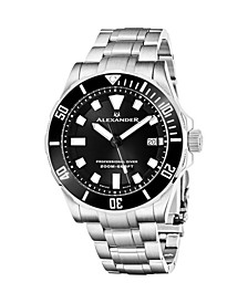 Alexander Watch A501B-01, Mens Quartz Diver Watch with Stainless Steel Case on Stainless Steel Bracelet