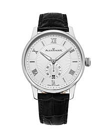Alexander Watch A102-01, Stainless Steel Case on Black Embossed Genuine Leather Strap