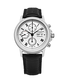 Alexander Watch A473-02, Stainless Steel Case on Black Alligator Embossed Genuine Leather Strap