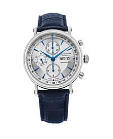 Alexander Watch A474-04, Stainless Steel Case on Blue Alligator Embossed Genuine Leather Strap