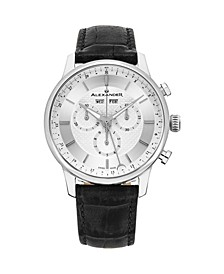 Alexander Watch A101-01, Stainless Steel Case on Black Embossed Genuine Leather Strap