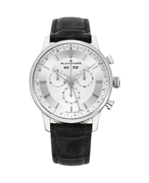 Image of Alexander Watch A101-01, Stainless Steel Case on Black Embossed Genuine Leather Strap
