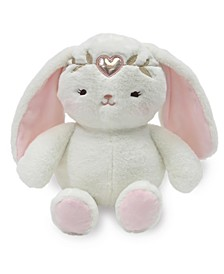 "Confetti Plush Bunny Stuffed Animal with Heart Crown - 10"" Pixie"