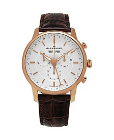 Alexander Watch A101-05, Stainless Steel Rose Gold Tone Case on Brown Embossed Genuine Leather Strap