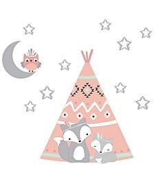 Little Spirit Fox and Teepee Nursery Jumbo Wall Decals/Appliques