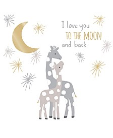 Signature Moonbeams I Love You to the Moon and Back Celestial Giraffe Nursery Wall Decals/Appliques