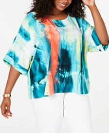 Alfani Plus Size Printed Dolman Blouse, Created for Macy's