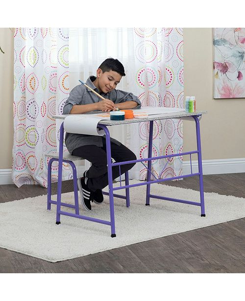 Pleasing Offex Project Center Kids Craft Table With Bench Purple Spatter Gray Gmtry Best Dining Table And Chair Ideas Images Gmtryco