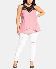 Trendy Plus Size Crochet-Yoke Top
