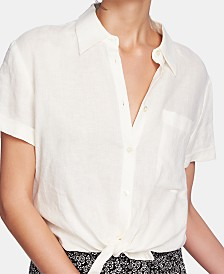 1.STATE Short-Sleeve Button-Front Linen Top