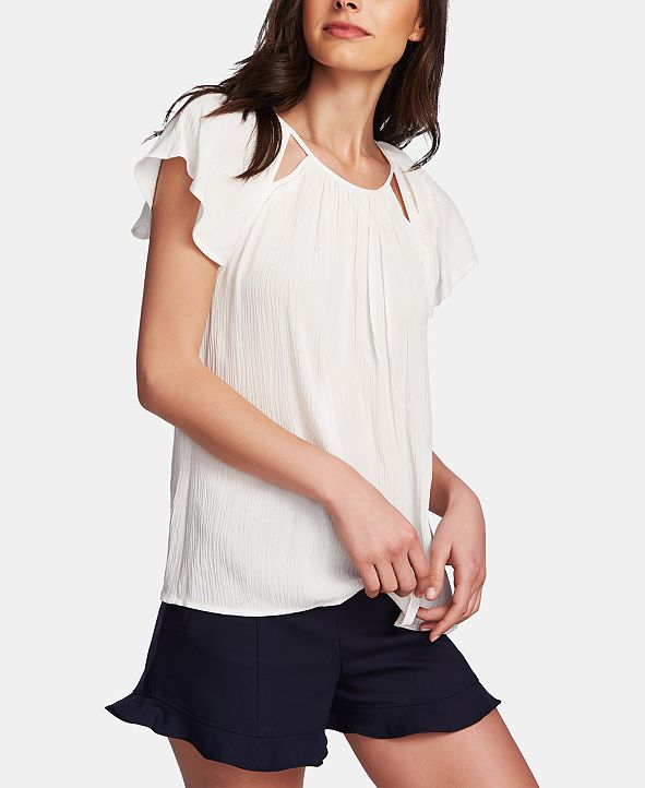 1.STATE Cutout Flutter-Sleeve Top