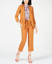 Bar III Open-Front Jacket, Tie-Neck Blouse & Belted Pants, Created for Macy's