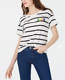 Juniors' Smile Striped Graphic T-Shirt