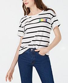 Juniors' Smile Striped Graphic T-Shirt