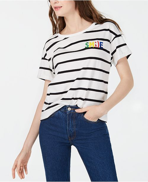 Rebellious One Juniors' Smile Striped Graphic T-Shirt