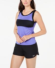 Nike Sport Mesh Scoop-Neck Tankini Top & Active Boardshorts