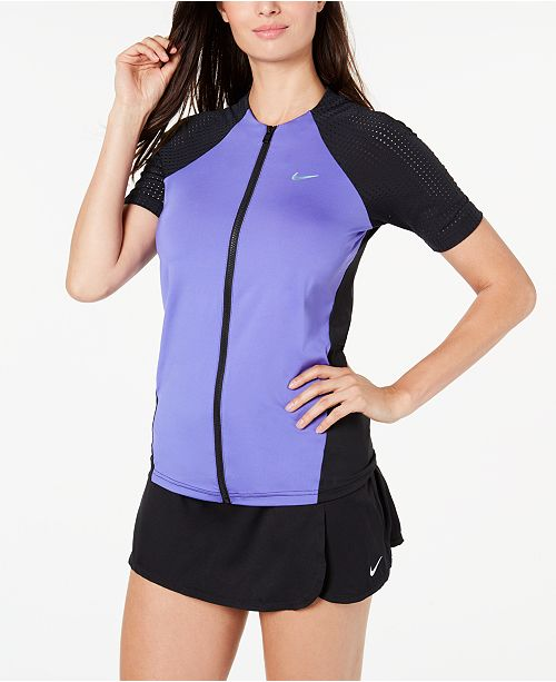 Nike Sport Mesh-Sleeve Zip-Front Rash Guard &  Swim Bottoms