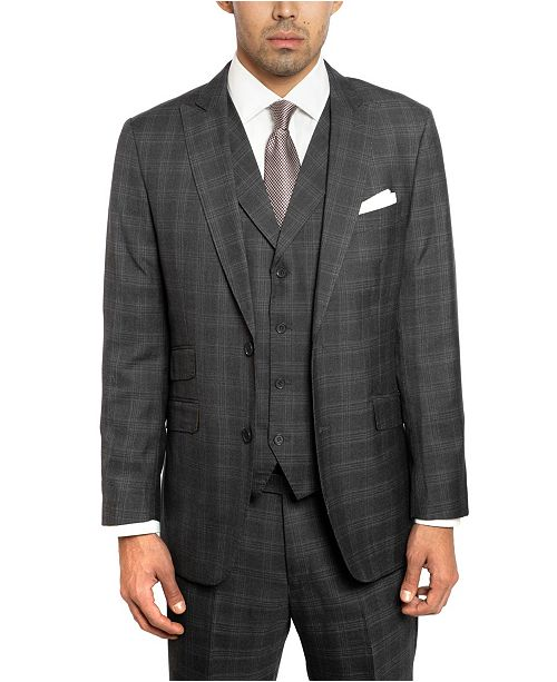 cadf37930faba7 ... English Laundry Two Button Peak Lapel Slim Fit Vested Men's Charcoal  Suit With Flat Front ...