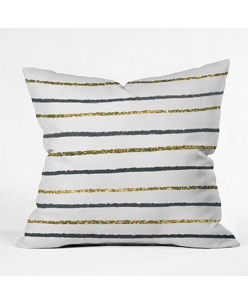 Deny Designs Social Proper Golden Black Throw Pillow
