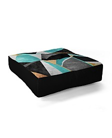 Elisabeth Fredriksson Turquoise Geometry Square Floor Pillow