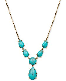 "Lucky Brand Gold-Tone Imitation Turquoise Pendant Necklace, 18"" + 2"" extender"