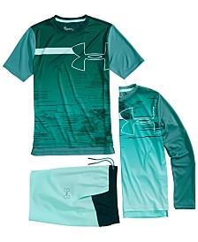 Under Armour Big Boys Sun Armour T-Shirt, Long-Sleeve T-Shirt & Splash Shorts Separates