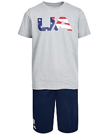 Under Armour Big Boys Freedom T-Shirt & Logo Shorts Separates