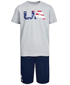 Under Armour Big Boys Freedom T-Shirt & Logo Shorts Separates