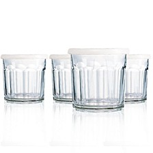 Working Double Old Fashioned Glass + White Storage Lids - Set of 4