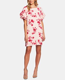 CeCe Floral-Print Ruffled Sleeve Dress