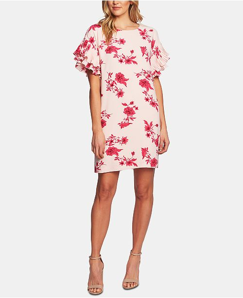 CeCe Floral-Print Ruffled Sleeve Dress